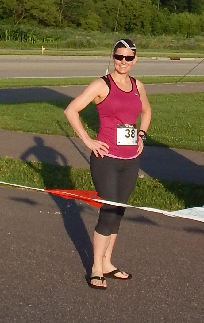 Standing at the finish line pre-race.