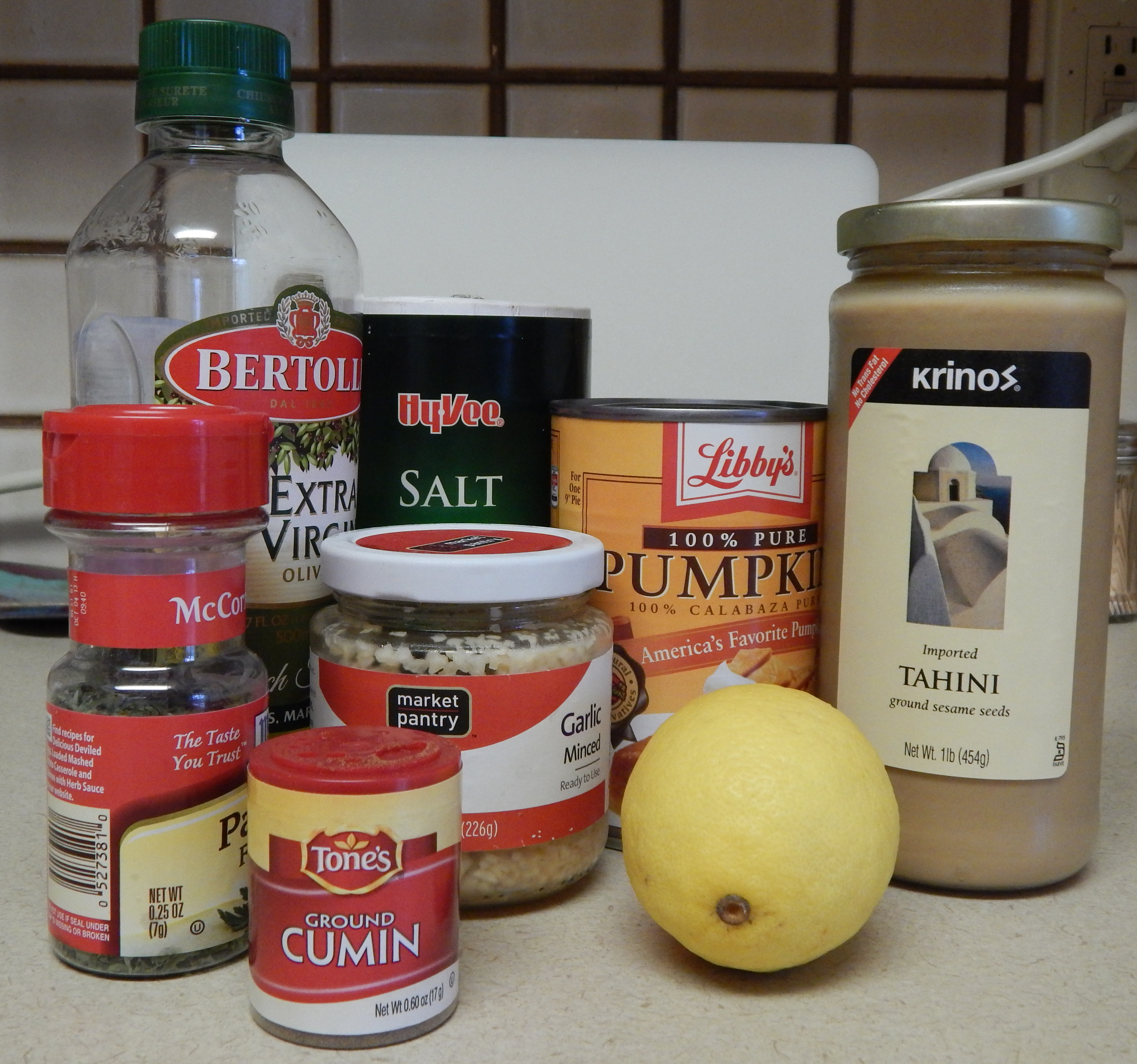 This is a quick glance at the ingredients needed for the Pumpkin Hummus. I omitted the Cayenne Pepper in the image because I am making that an optional ingredient-although I love it!