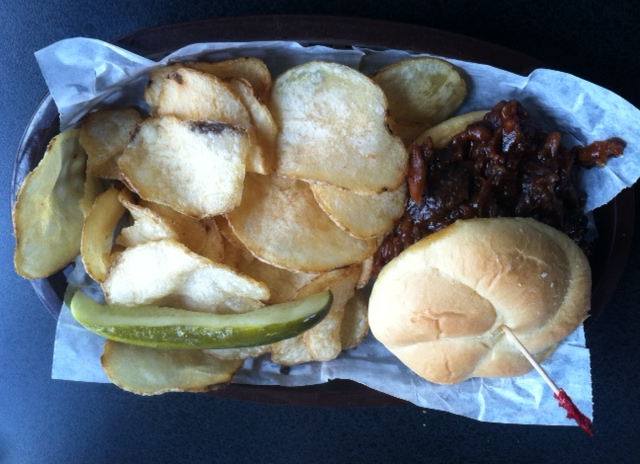 Pulled Pork and homemade potato chips from Pickle Factory