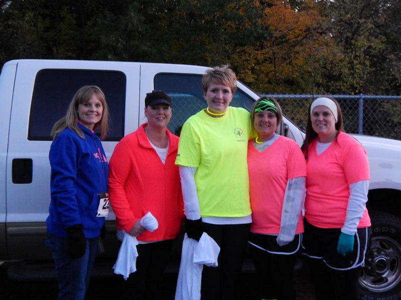 My friends and I at Blacklight Bubble Party 5K