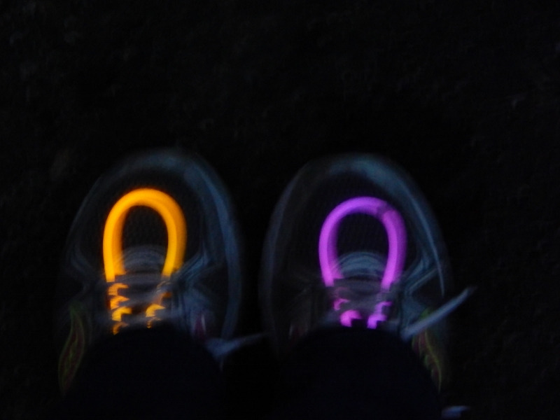 Glow sticks in my shoes at Blacklight Bubble Party 5K