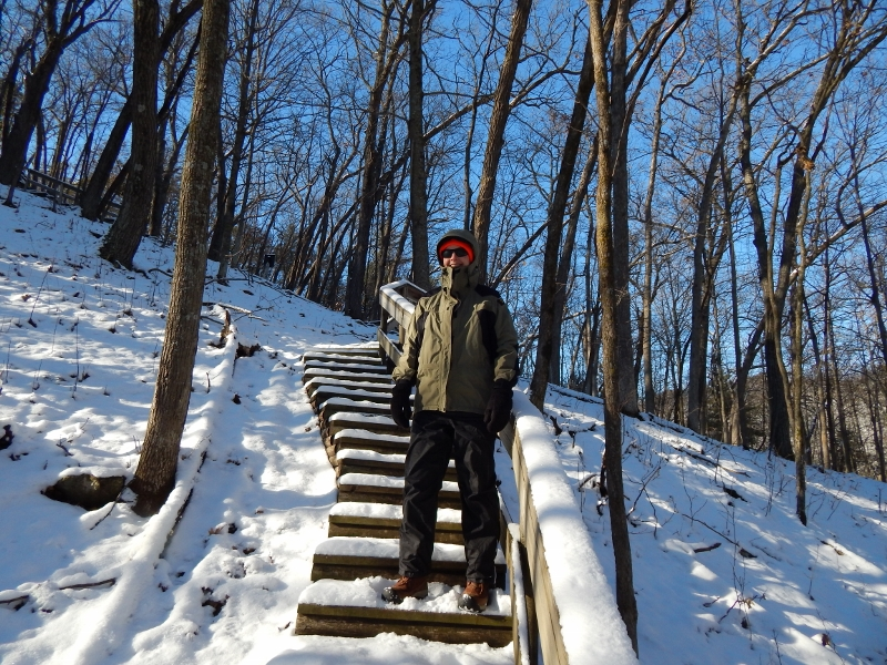 Hiking up the Dakota trail in snowy conditions